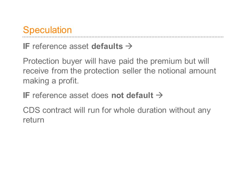 Speculation IF reference asset defaults 