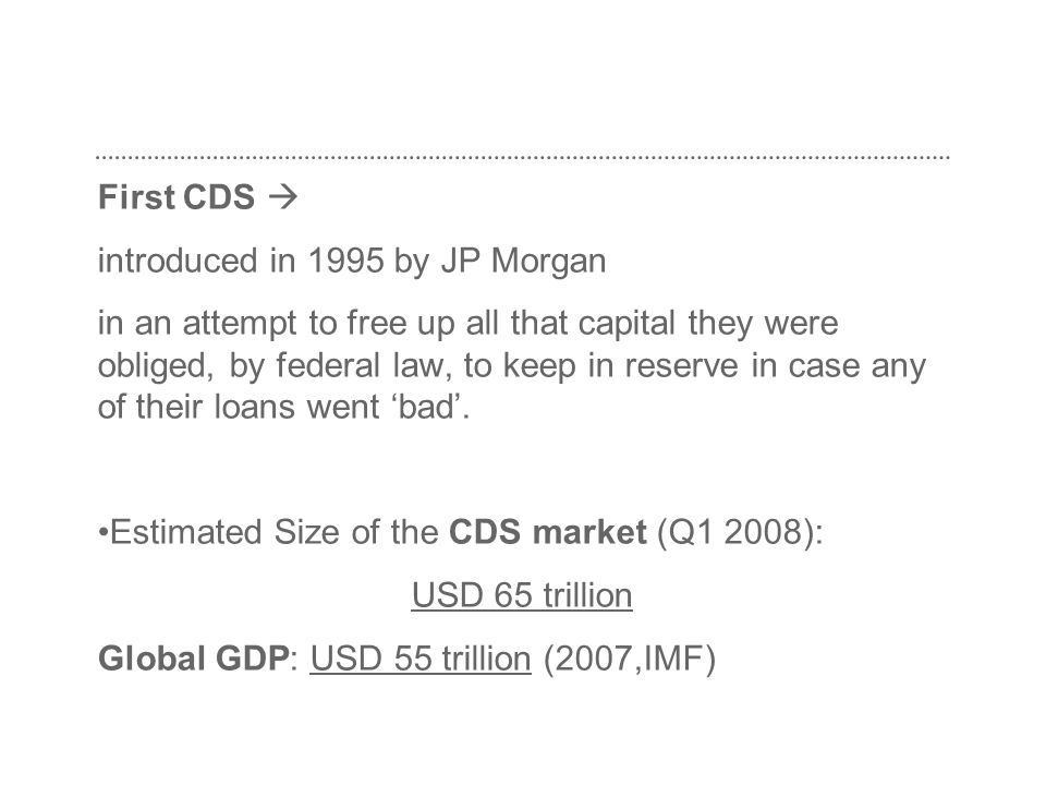 First CDS  introduced in 1995 by JP Morgan.