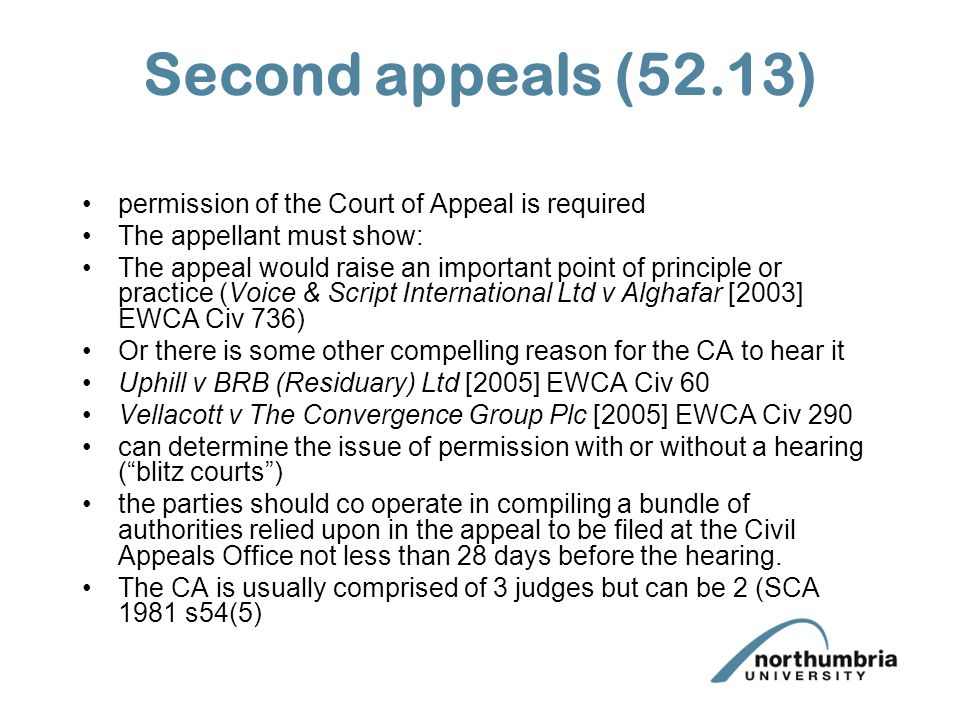 Second appeals (52.13) permission of the Court of Appeal is required