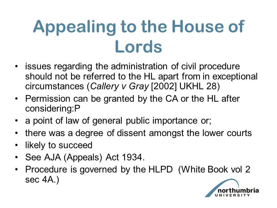 Appealing to the House of Lords