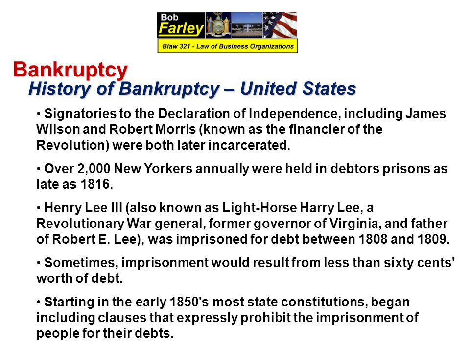 Bankruptcy History of Bankruptcy – United States