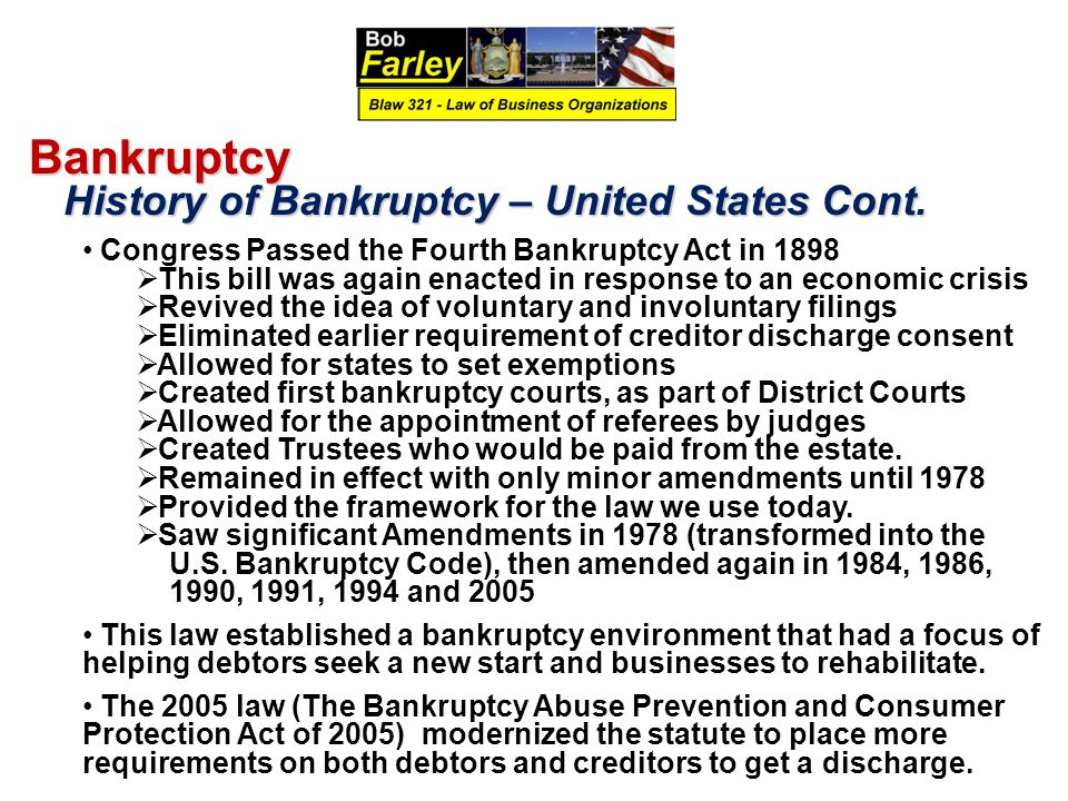 United States Bankruptcy Law and Grand Opening Essay