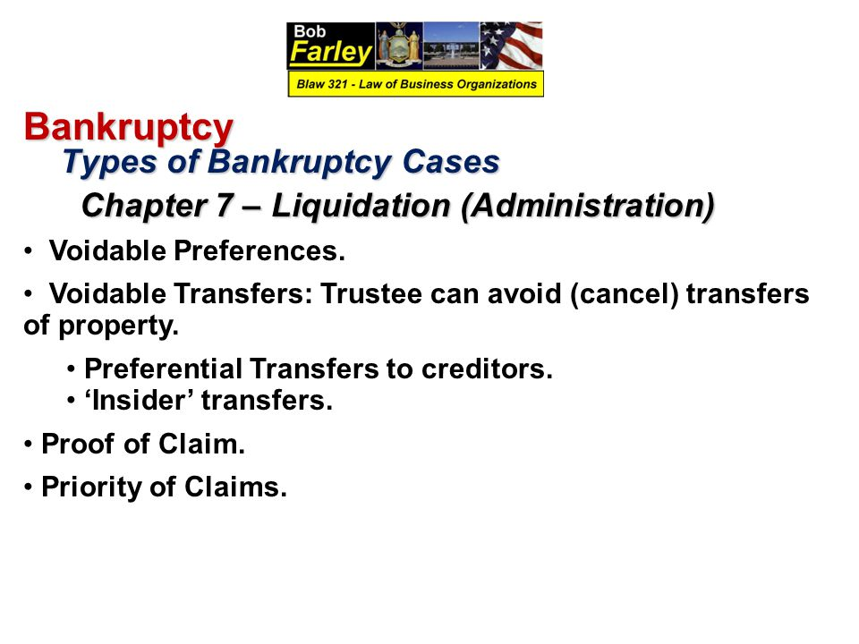 Bankruptcy Types of Bankruptcy Cases Voidable Preferences.