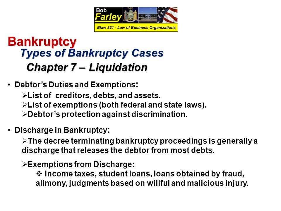 Bankruptcy Types of Bankruptcy Cases Debtor's Duties and Exemptions: