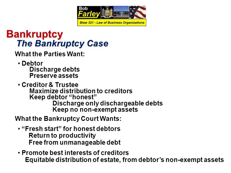 Bankruptcy The Bankruptcy Case Debtor Discharge debts Preserve assets