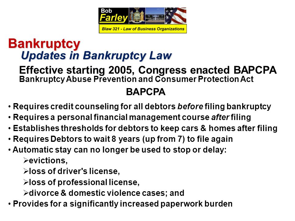 Bankruptcy Updates in Bankruptcy Law