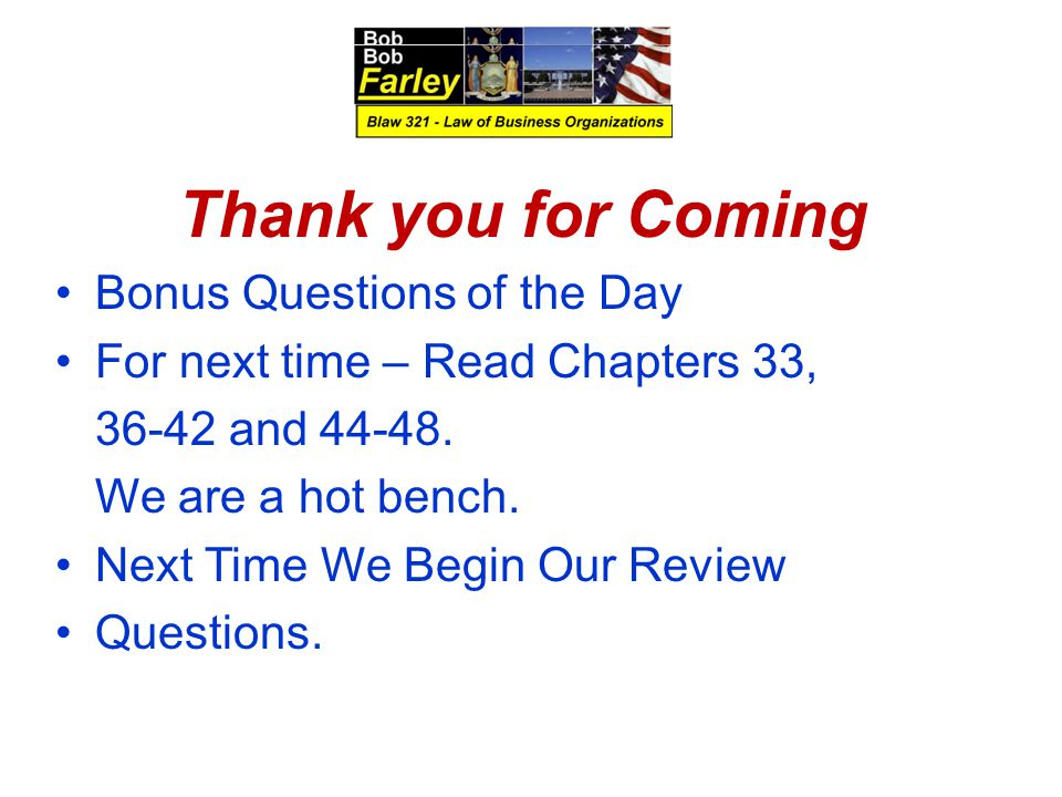 Thank you for Coming Bonus Questions of the Day