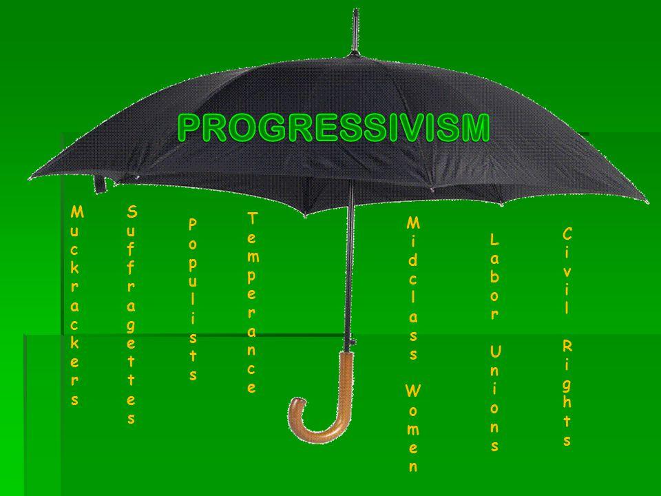 PROGRESSIVISM Muckrackers Suffragettes Temperance Popul ists