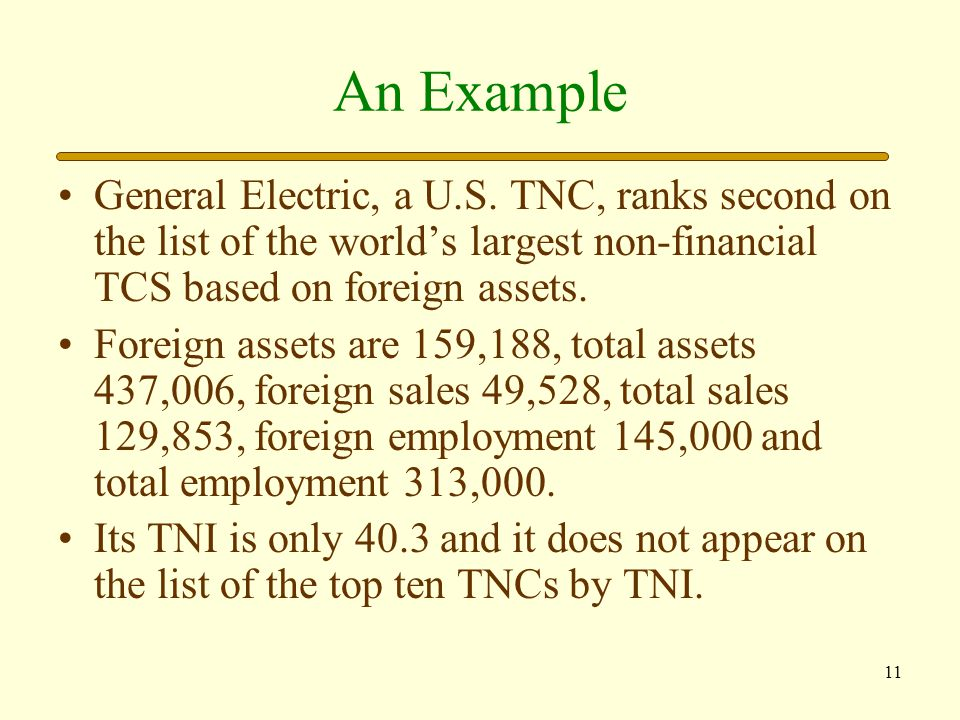 An Example General Electric, a U.S. TNC, ranks second on the list of the world's largest non-financial TCS based on foreign assets.