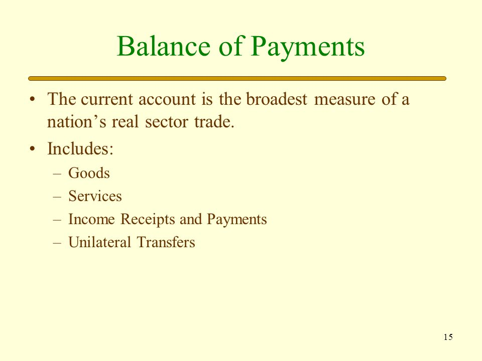 Balance of Payments The current account is the broadest measure of a nation's real sector trade. Includes: