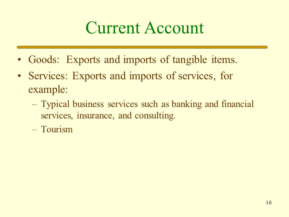 Current Account Goods: Exports and imports of tangible items.
