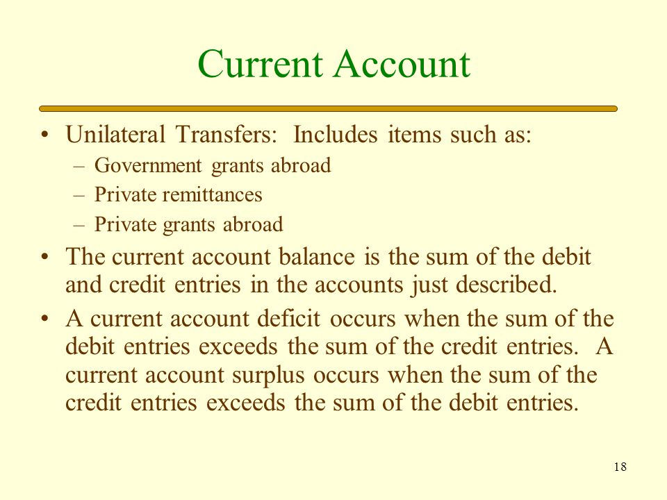 Current Account Unilateral Transfers: Includes items such as: