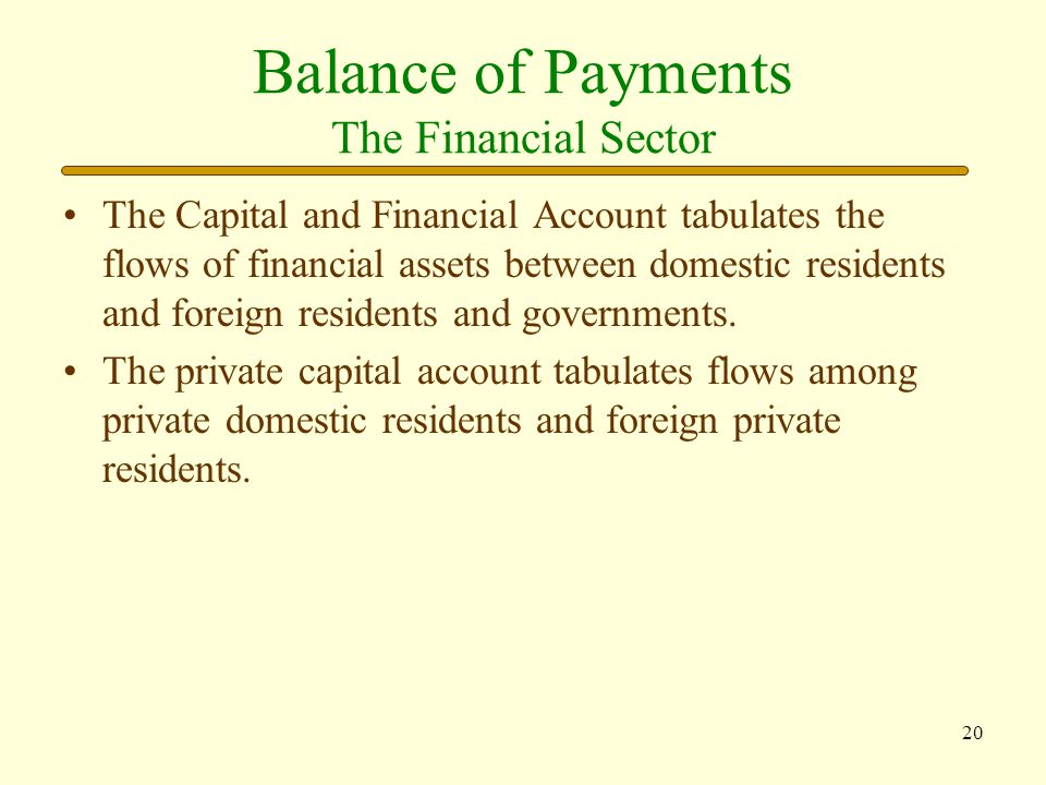 Balance of Payments The Financial Sector