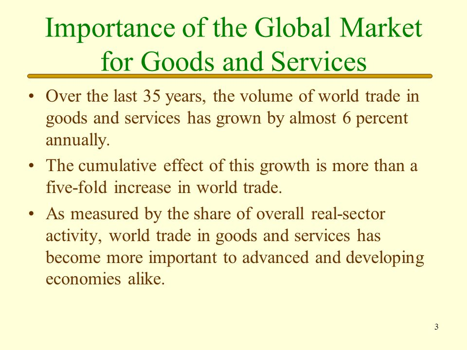 Importance of the Global Market for Goods and Services