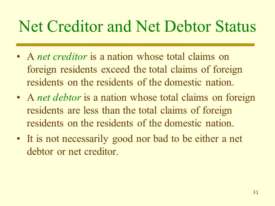 Net Creditor and Net Debtor Status
