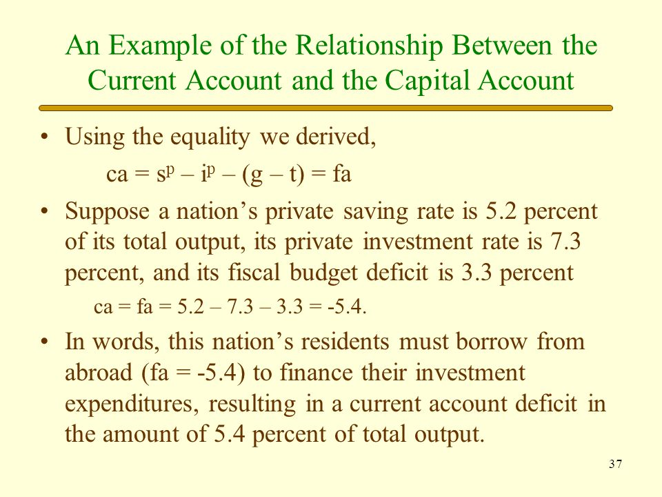 An Example of the Relationship Between the Current Account and the Capital Account