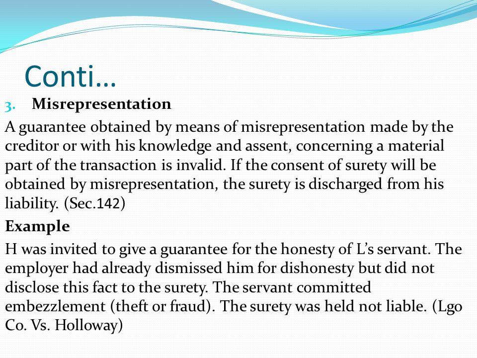 Conti… Misrepresentation