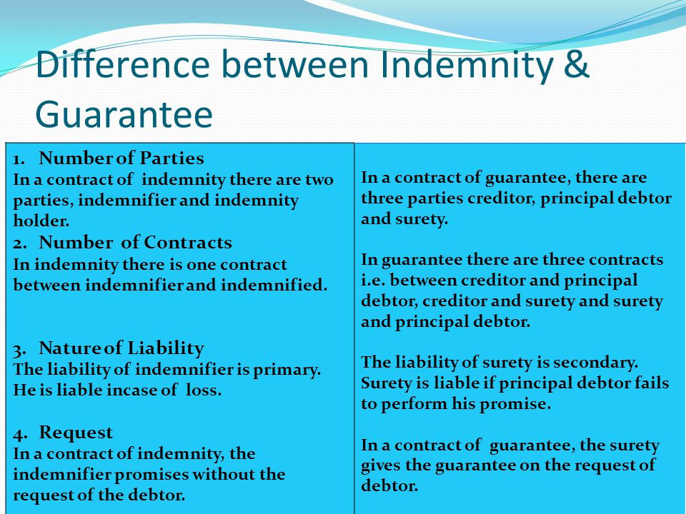 Business Law I: Contract Idemnity - types of guarantee
