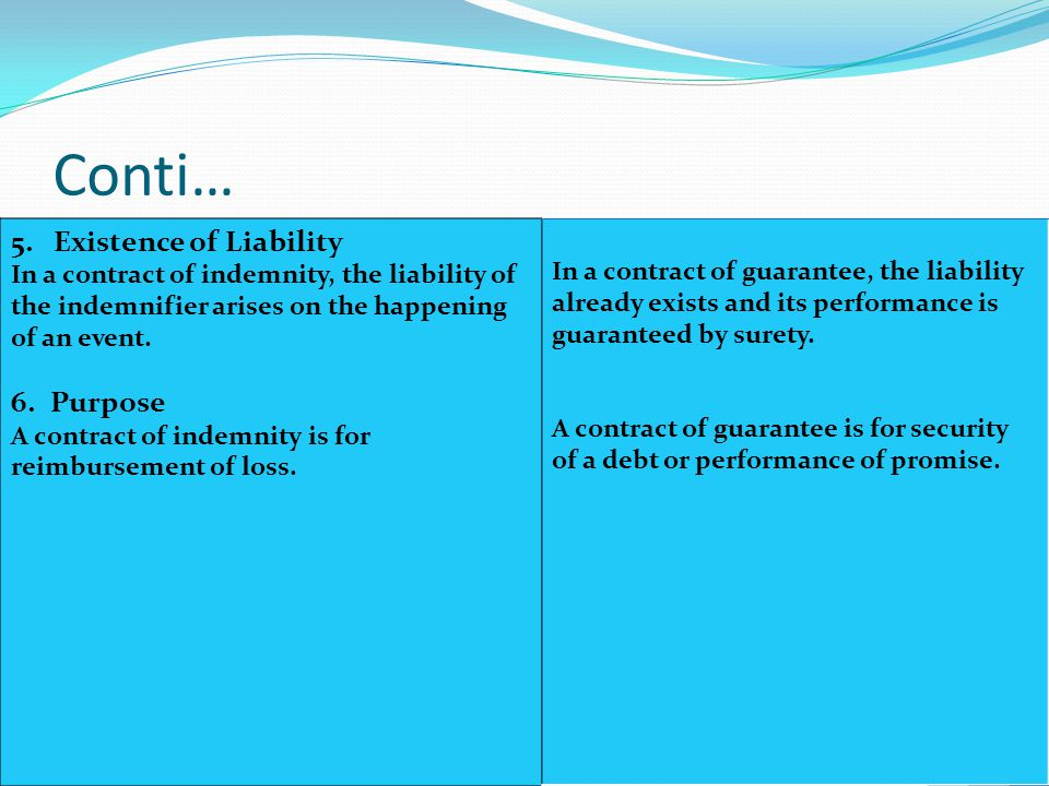 Conti… 5. Existence of Liability Purpose