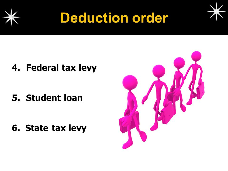 Deduction order Federal tax levy Student loan 6. State tax levy