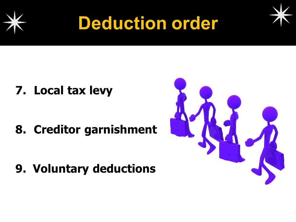 Deduction order Local tax levy Creditor garnishment