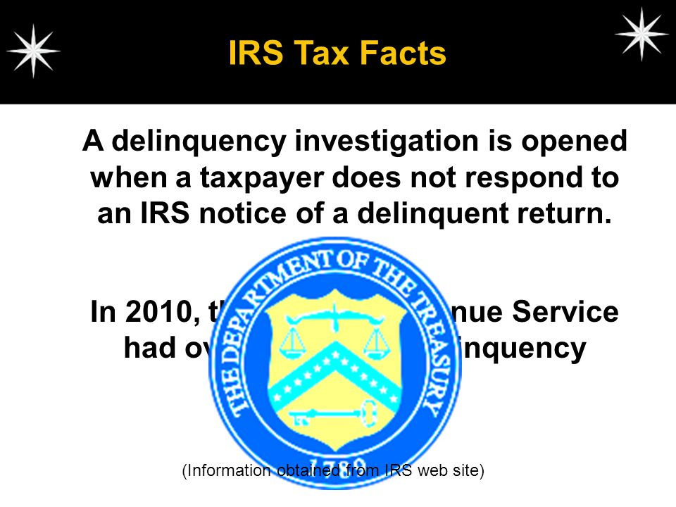 IRS Tax Facts A delinquency investigation is opened when a taxpayer does not respond to an IRS notice of a delinquent return.