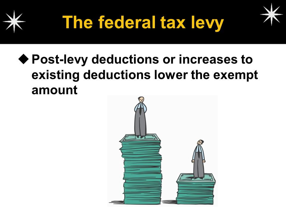 The federal tax levy Post-levy deductions or increases to existing deductions lower the exempt amount.