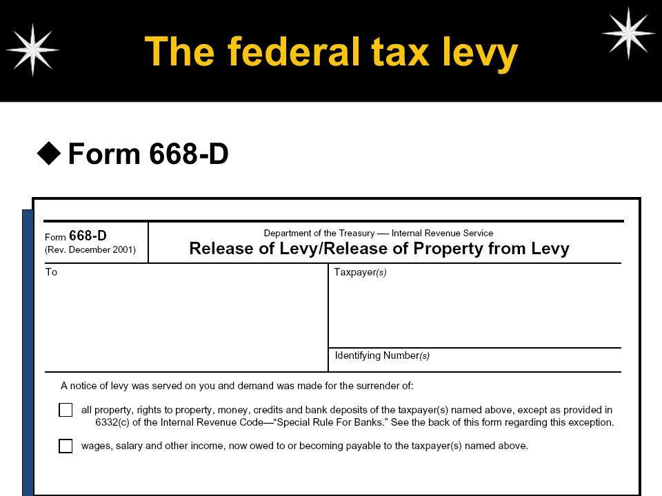 The federal tax levy Form 668-D
