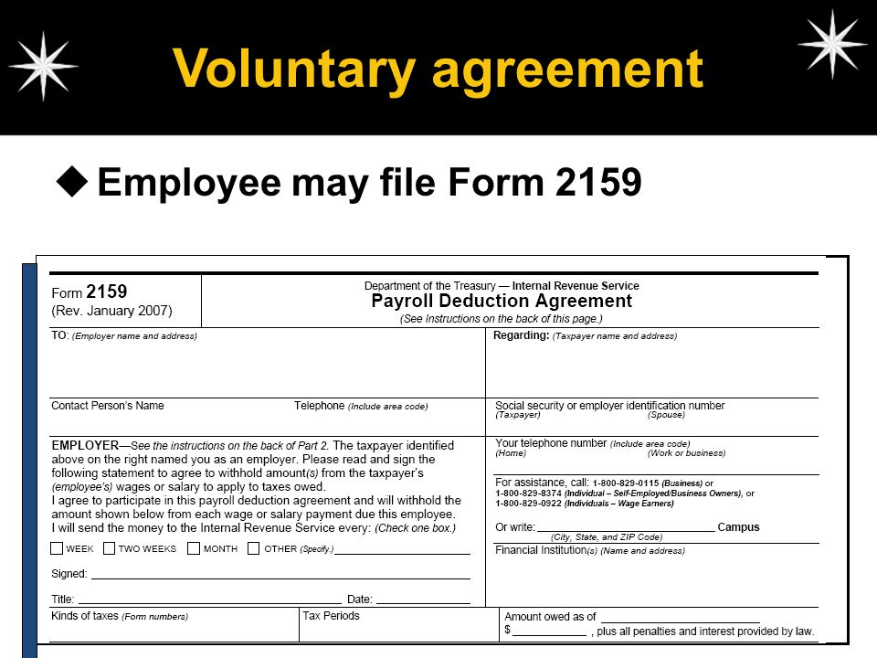 Voluntary agreement Employee may file Form 2159