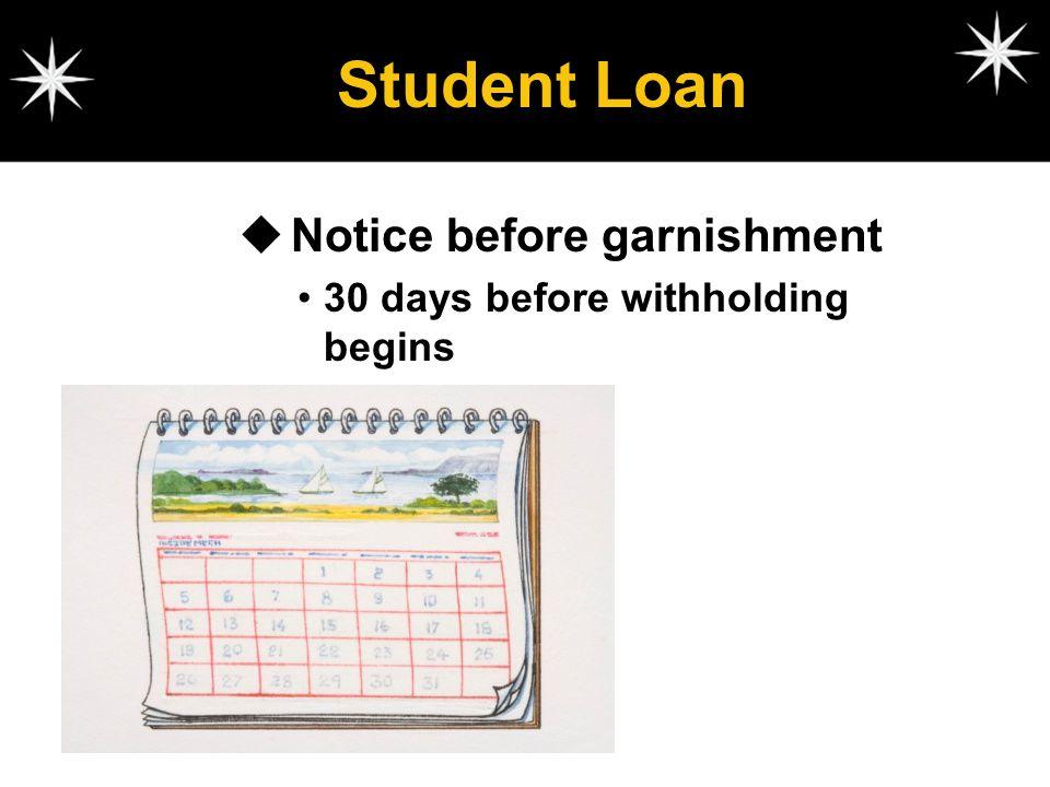 Student Loan Notice before garnishment