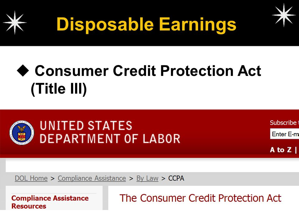 Disposable Earnings Consumer Credit Protection Act (Title III)