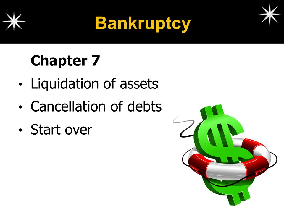 Bankruptcy Chapter 7 Liquidation of assets Cancellation of debts