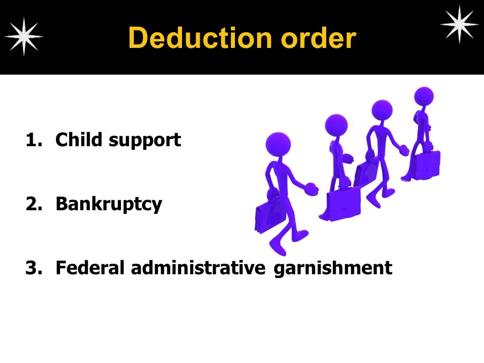Deduction order Child support Bankruptcy