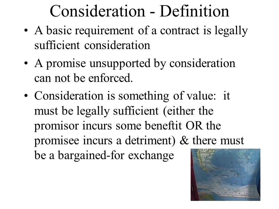 + Consideration - Definition