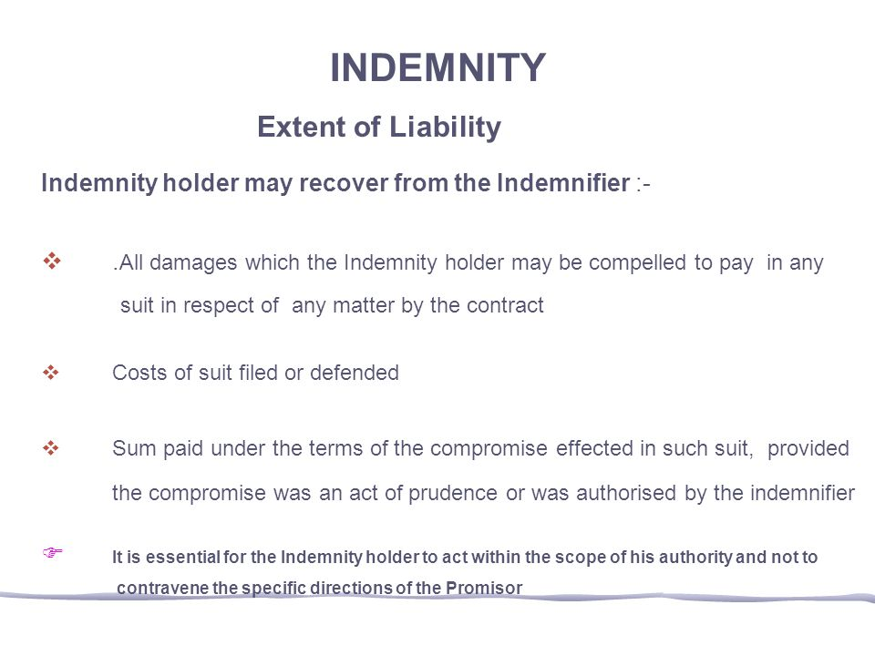 INDEMNITY Extent of Liability
