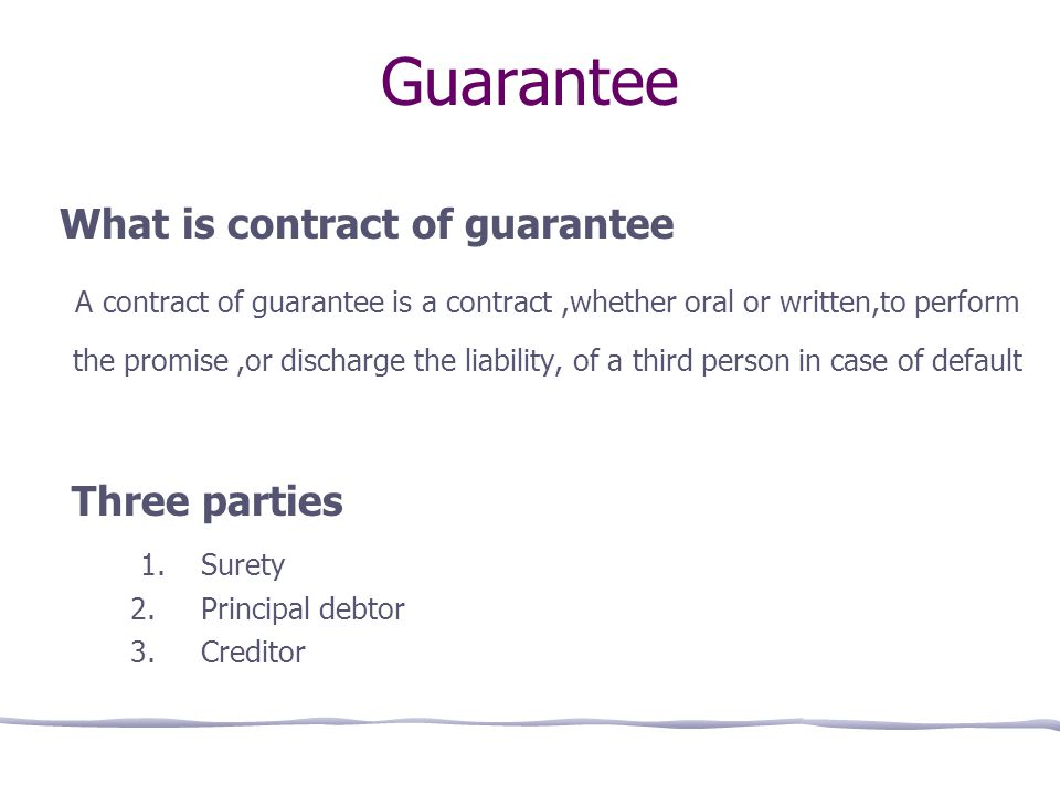 Simplynotes - Special Contracts: Indemnity; Guarantee ...