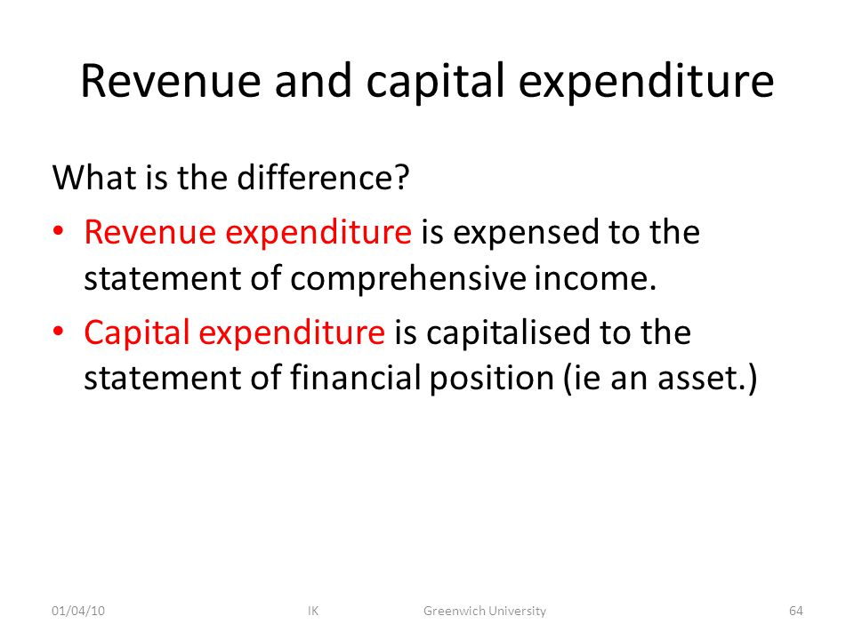 Revenue and capital expenditure