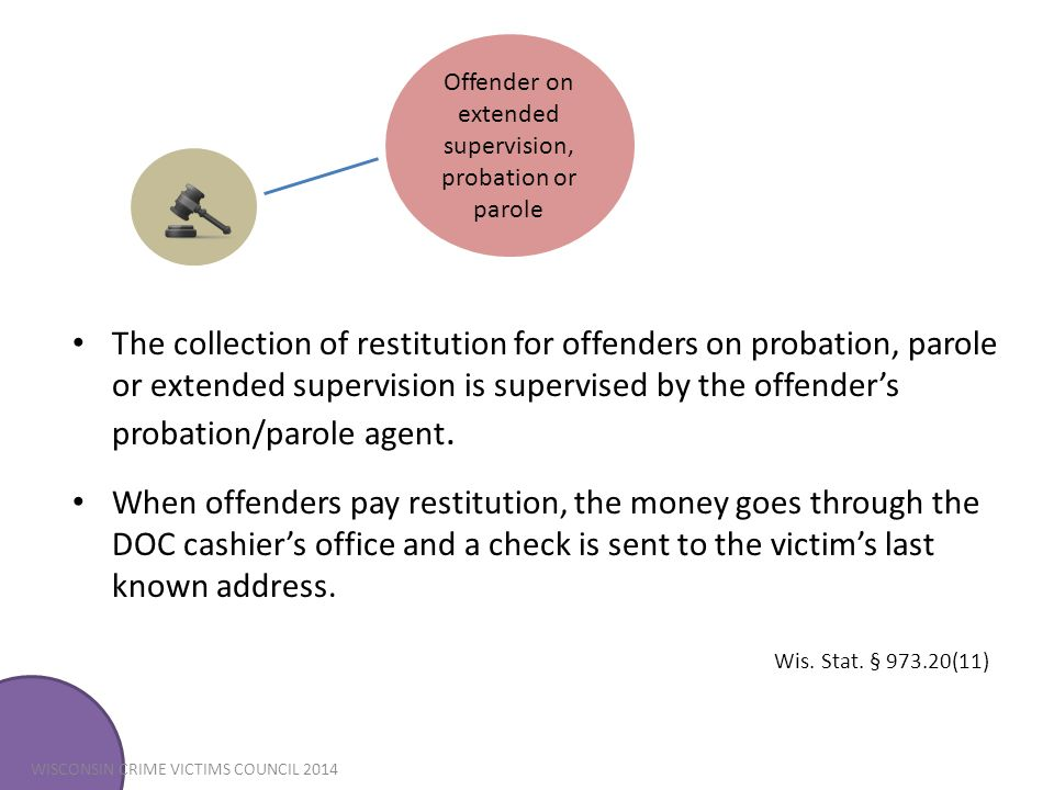 Offender on extended supervision, probation or parole