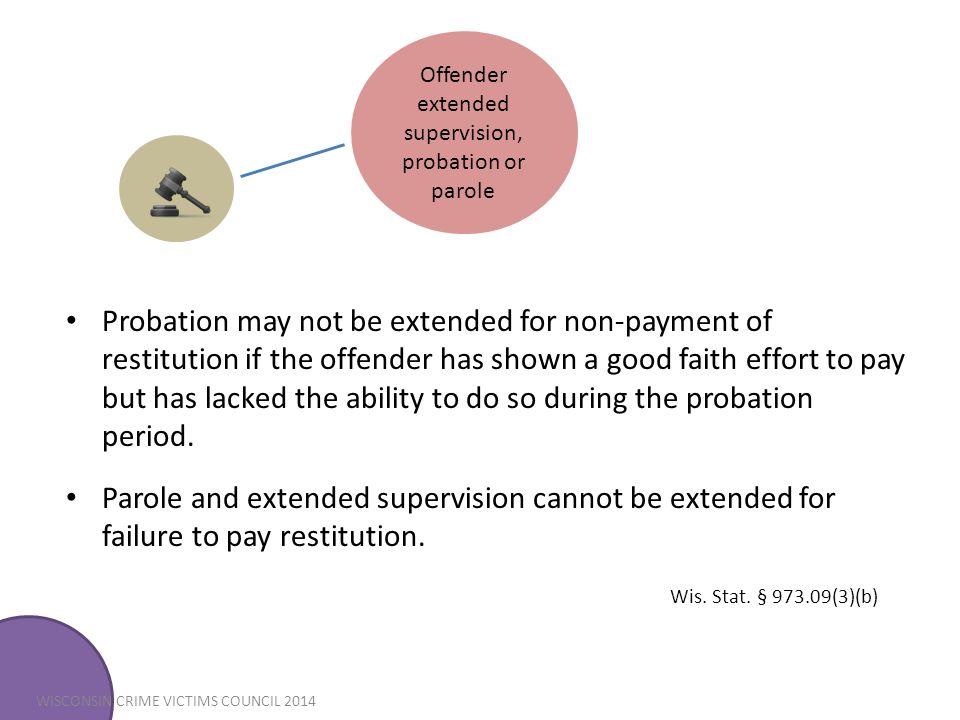 Offender extended supervision, probation or parole
