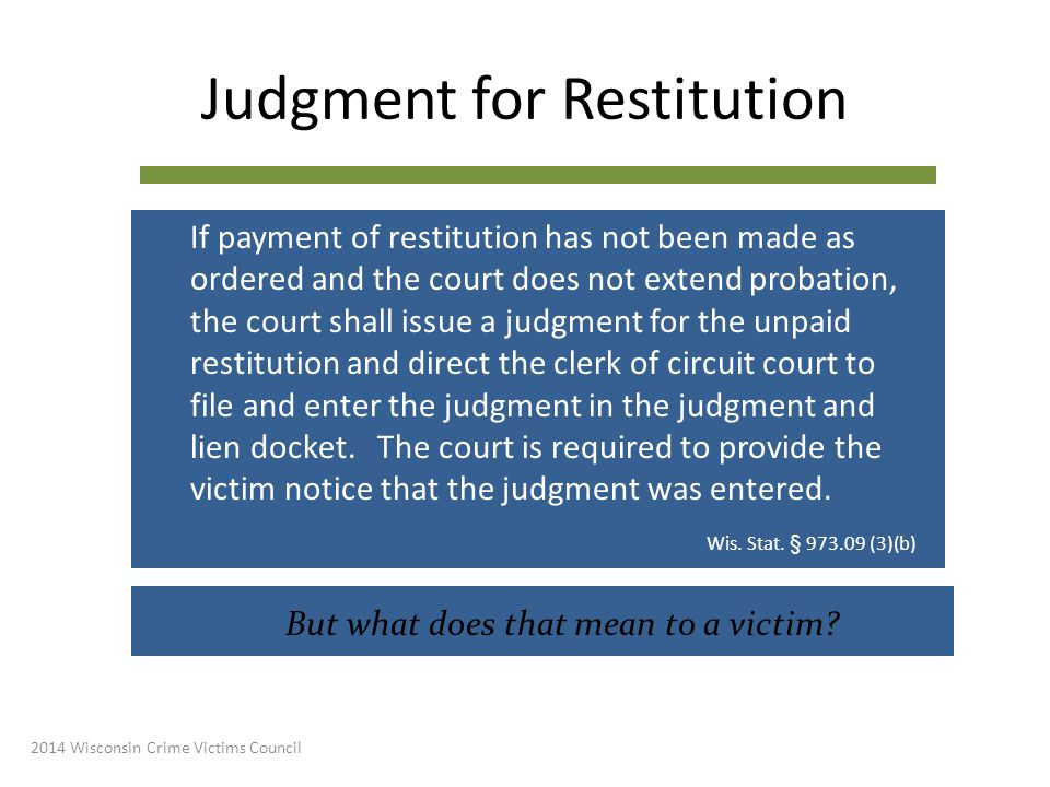 Judgment for Restitution