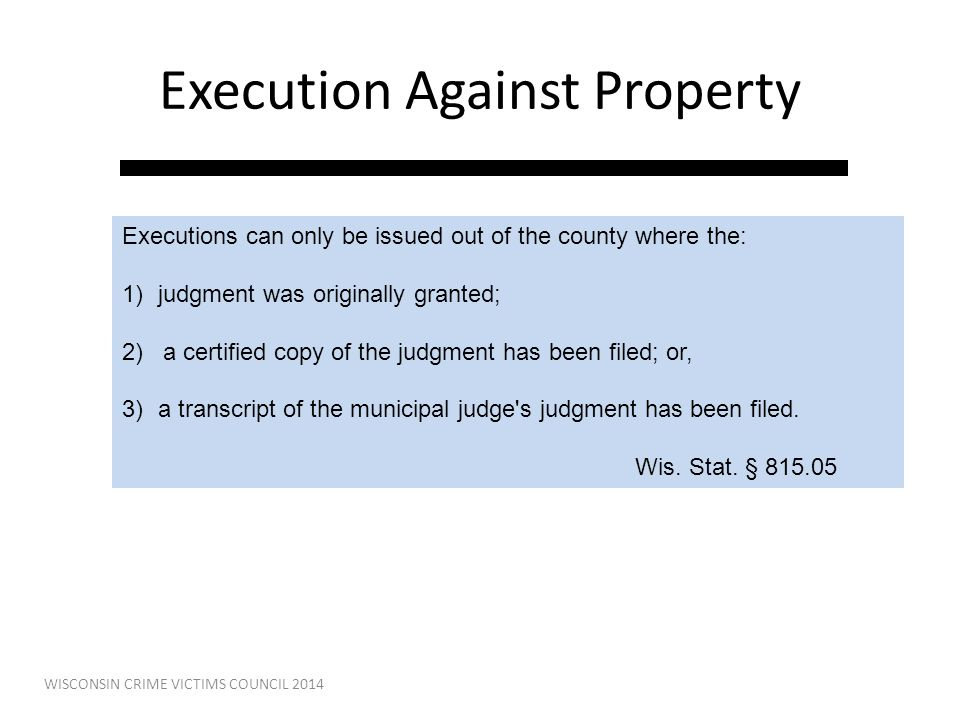 Execution Against Property