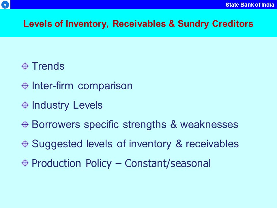 Levels of Inventory, Receivables & Sundry Creditors
