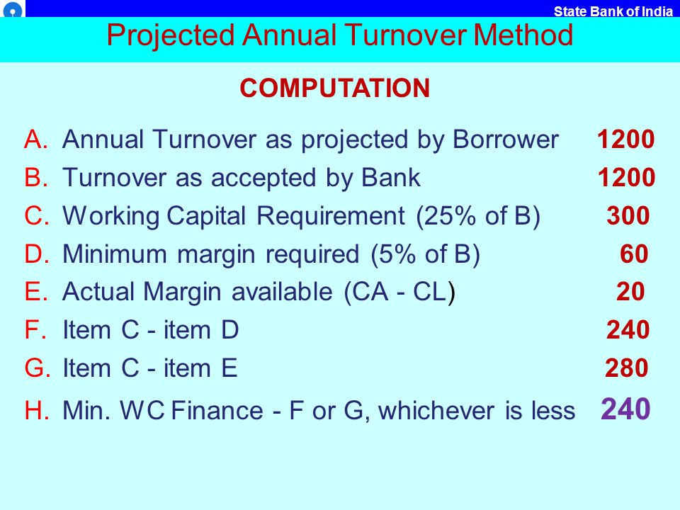 Projected Annual Turnover Method