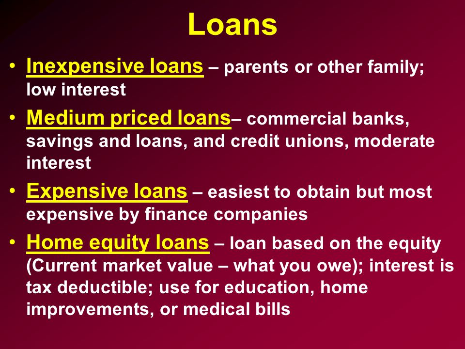 Loans Inexpensive loans – parents or other family; low interest