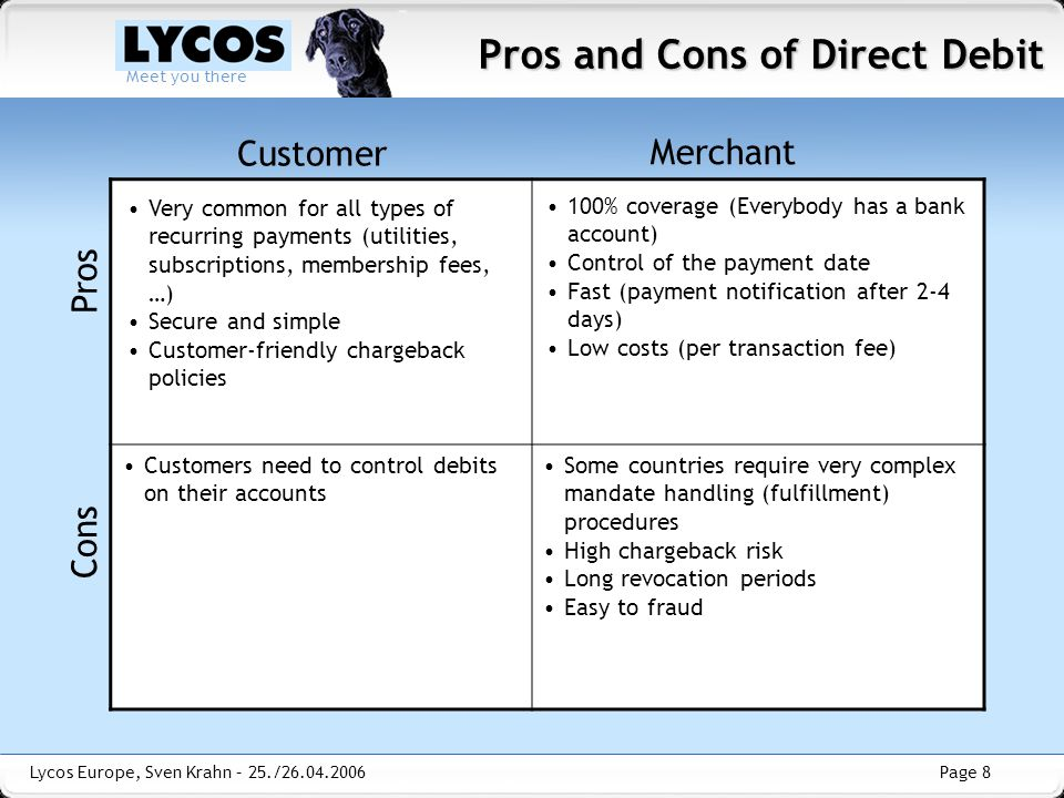 Pros and Cons of Direct Debit
