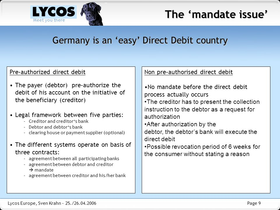 Germany is an 'easy' Direct Debit country