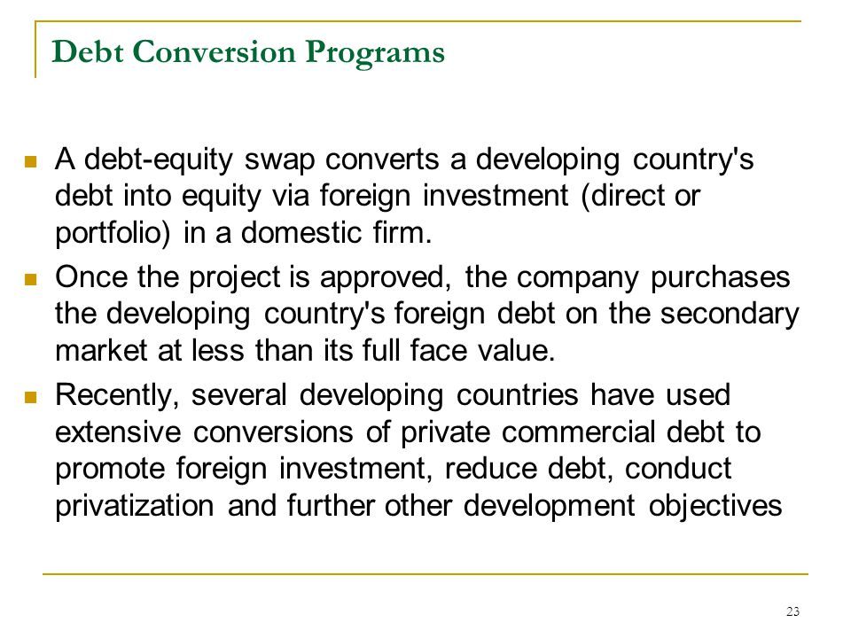 Debt Conversion Programs