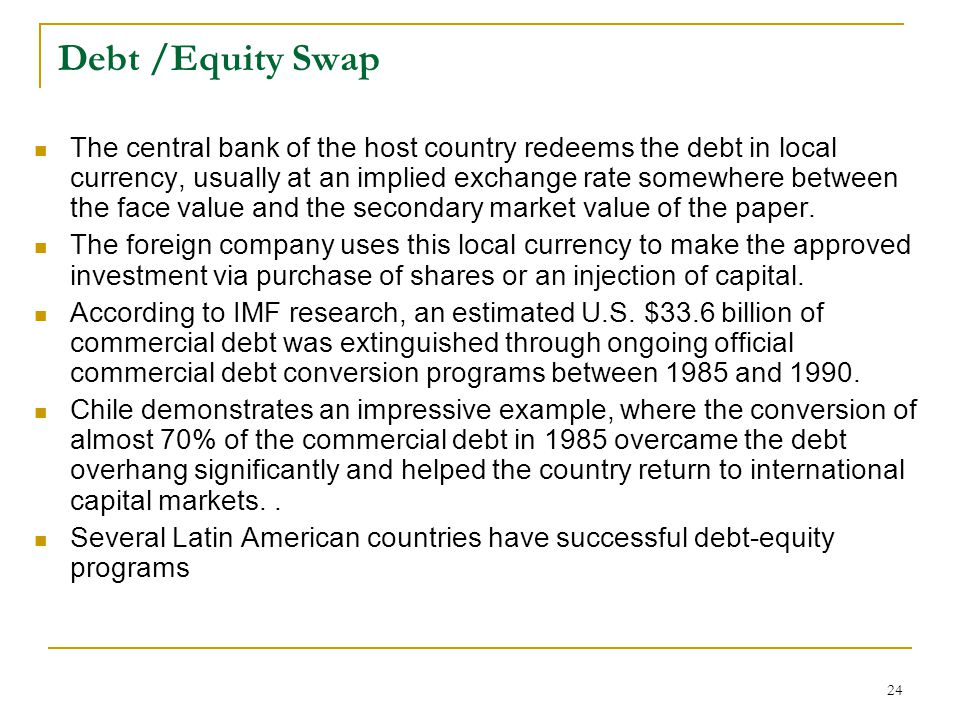 Debt /Equity Swap