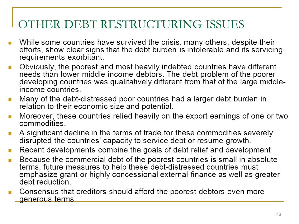 OTHER DEBT RESTRUCTURING ISSUES