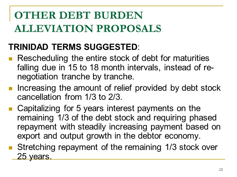 OTHER DEBT BURDEN ALLEVIATION PROPOSALS